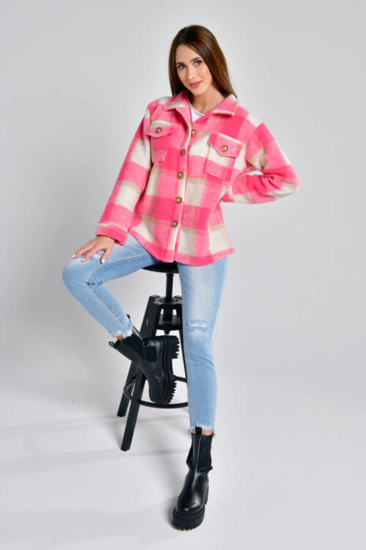 Różowa koszula płaszczyk w kratkę Paront 3