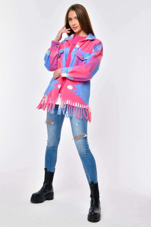 Różowo-niebieska koszula z frędzlami Bestie 3