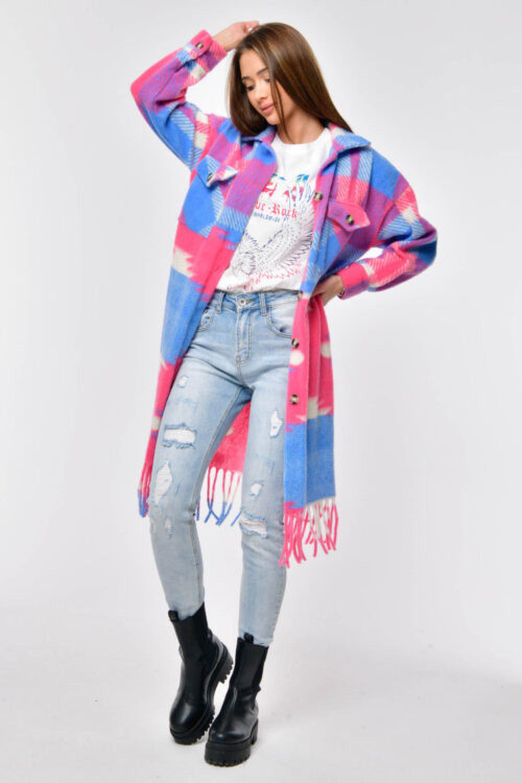 Różowo-niebieska długa koszula płaszczyk Basmon 1