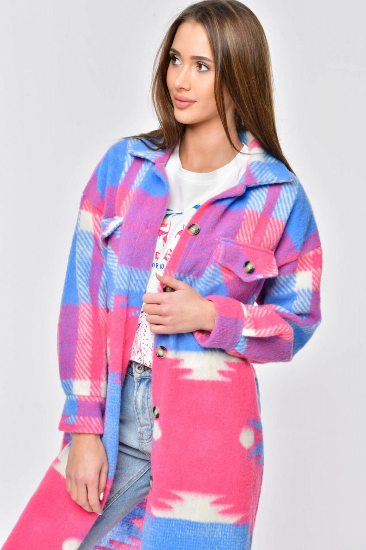 Różowo-niebieska długa koszula płaszczyk Basmon 3