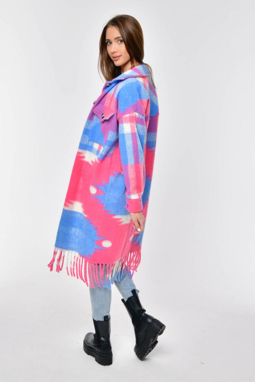 Różowo-niebieska długa koszula płaszczyk Basmon 2
