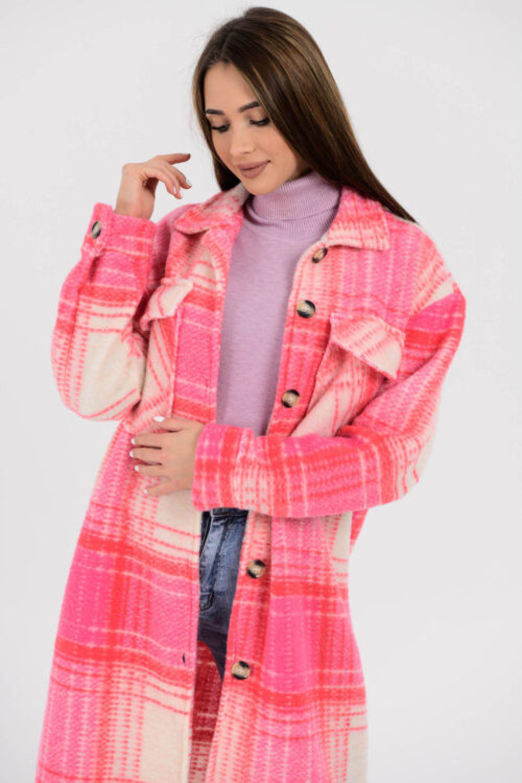Różowa długa koszula w kratkę Gavlin 2