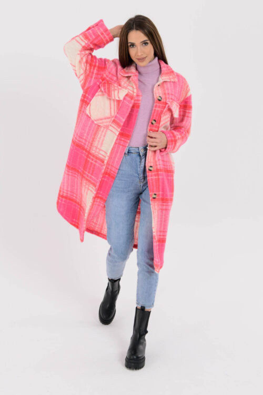 Różowa długa koszula w kratkę Gavlin 4