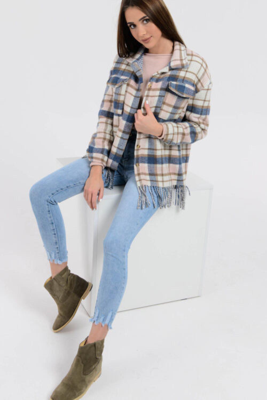 Niebiesko-beżowa koszula z frędzelkami Chaime 2