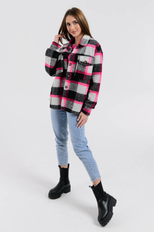 Czarno-różowa koszula z neonowym akcentem Focus 1