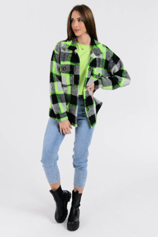 Czarno-zielona koszula z neonowym akcentem Focus 3