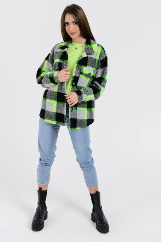 Czarno-zielona koszula z neonowym akcentem Focus 1