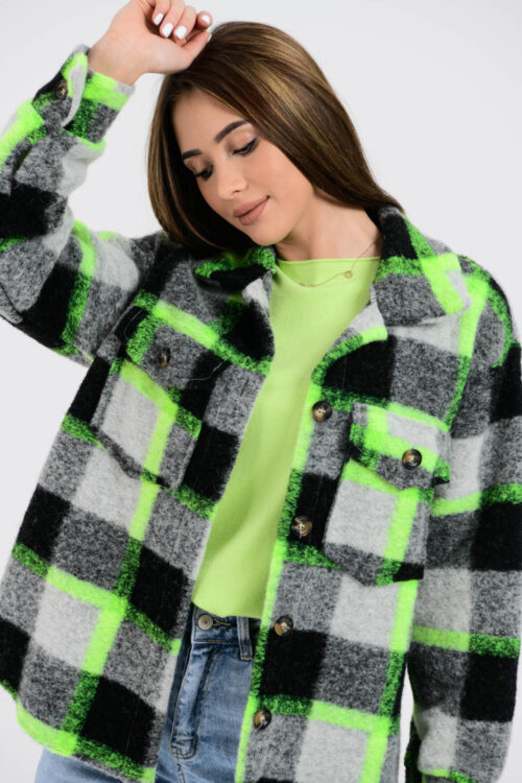 Czarno-zielona koszula z neonowym akcentem Focus 2