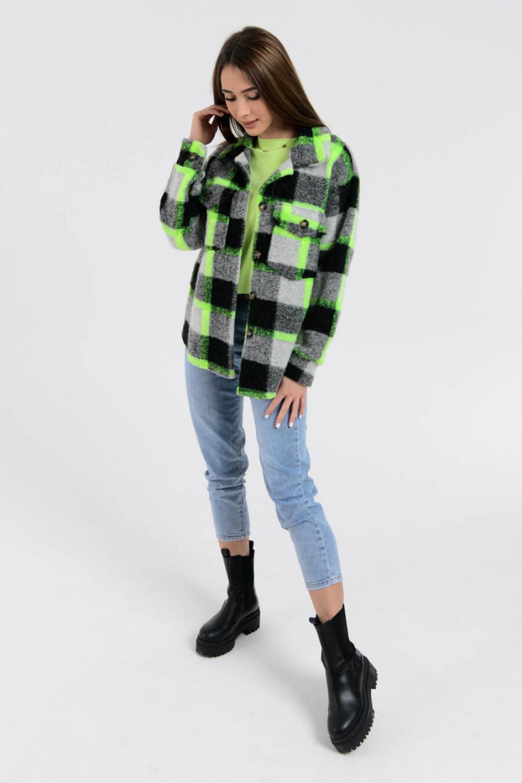 Czarno-zielona koszula z neonowym akcentem Focus 4