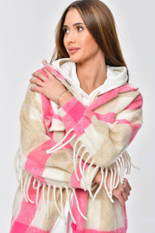 Różowo-beżowa koszula płaszczyk z frędzlami Louise 2