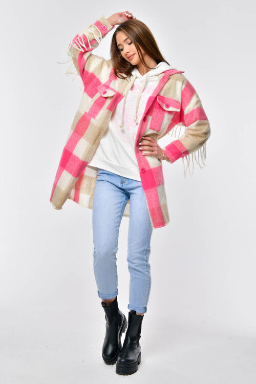 Różowo-beżowa koszula płaszczyk z frędzlami Louise 3