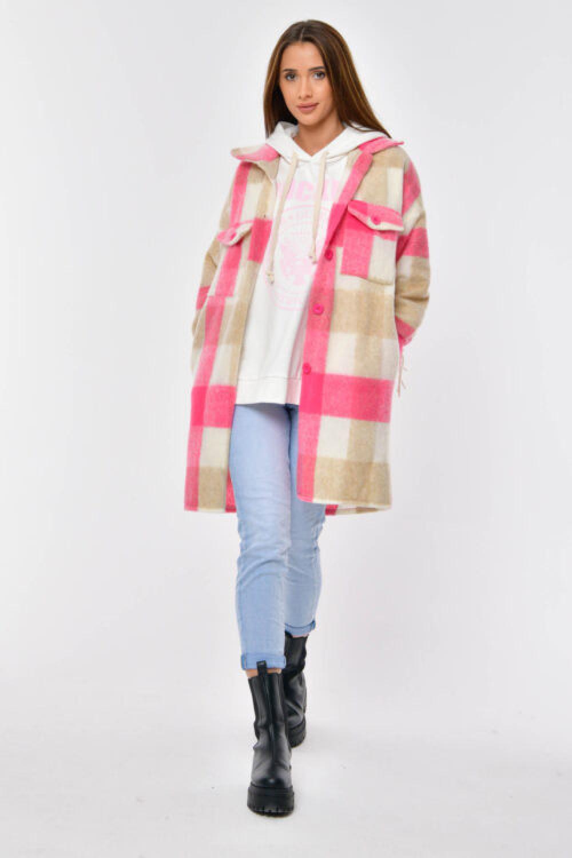 Różowo-beżowa koszula płaszczyk z frędzlami Louise 5