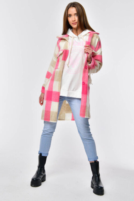 Różowo-beżowa koszula płaszczyk z frędzlami Louise 6