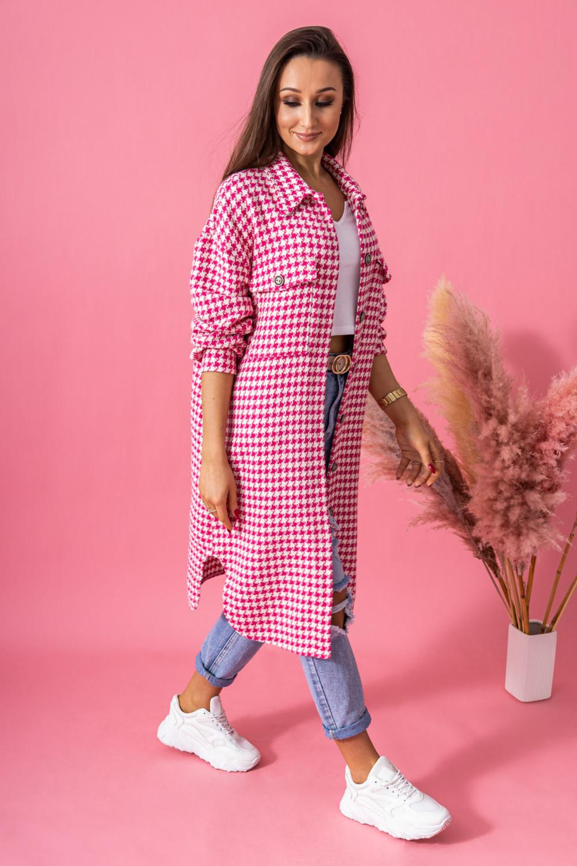 Różowa długa koszula w kratkę Arabela 2