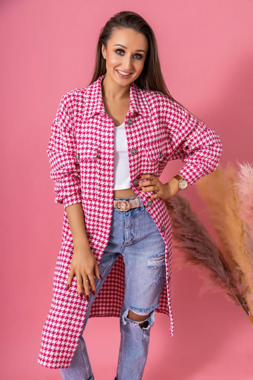 Różowa długa koszula w kratkę Arabela 1