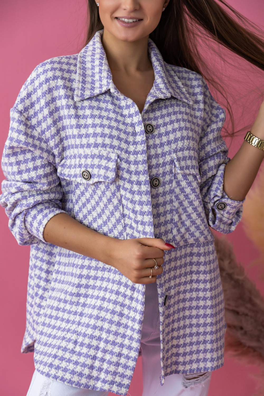 Fioletowa koszula w pepitkę Bella 2