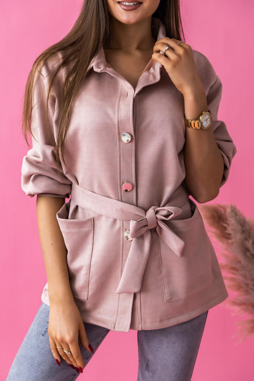 Różowa zamszowa koszula z wiązaniem Marita 2