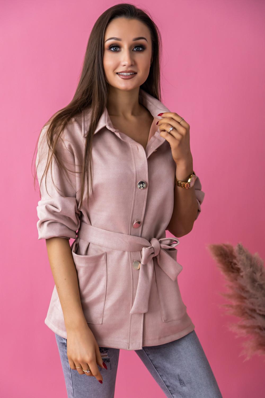 Różowa zamszowa koszula z wiązaniem Marita 3