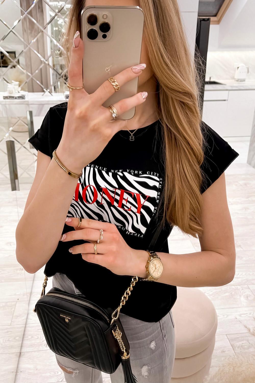 Czarny t-shirt z nadrukiem Honey 3
