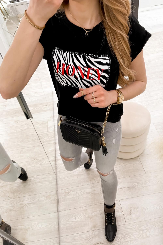 Czarny t-shirt z nadrukiem Honey 5