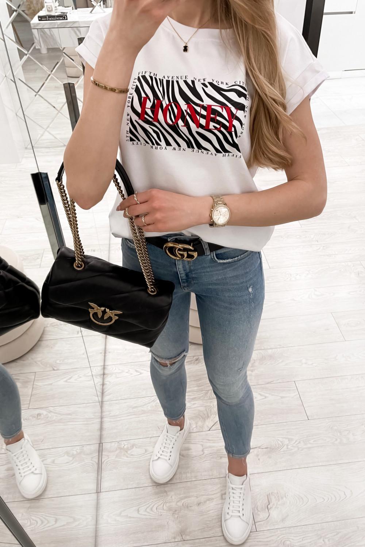 Biały t-shirt z nadrukiem Honey 2