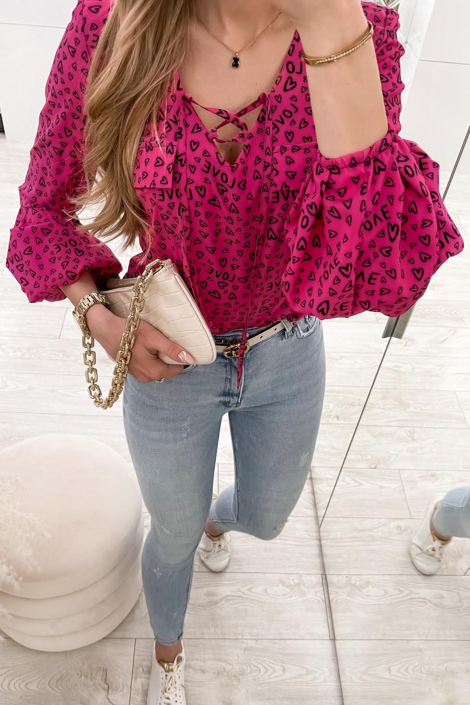 Różowa bluzka w serduszka z bufiastymi rękawami Pisces 2