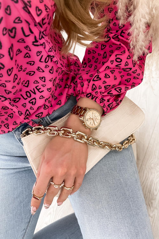 Różowa bluzka w serduszka z bufiastymi rękawami Pisces 5