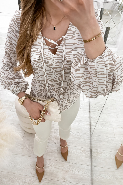 Beżowa bluzka w zeberkę z bufiastymi rękawami Pisces 3
