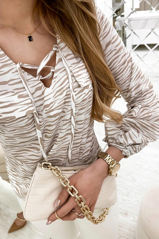 Beżowa bluzka w zeberkę z bufiastymi rękawami Pisces 4