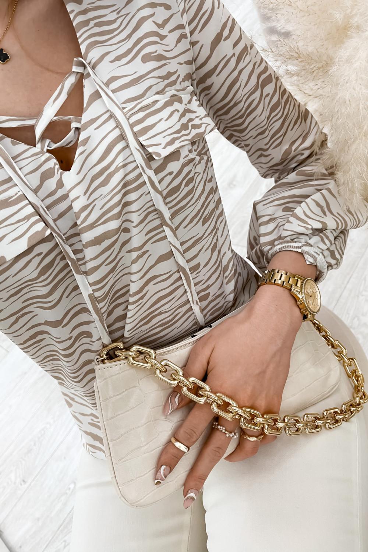 Beżowa bluzka w zeberkę z bufiastymi rękawami Pisces 5