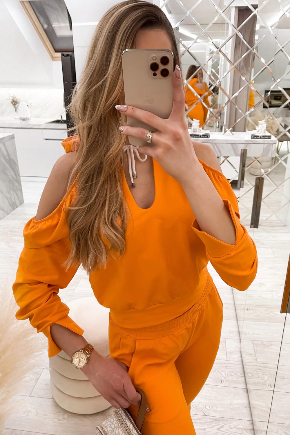 Pomarańczowy komplet dresowy z wycięciami Savage 3