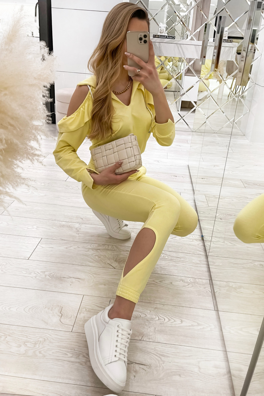 Żółty komplet dresowy z wycięciami Savage 1