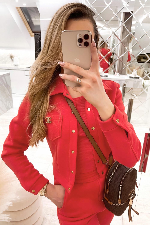 Czerwony trzyczęściowy komplet damski Fansy 3