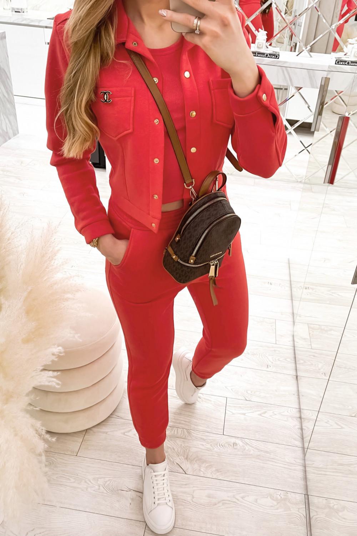 Czerwony trzyczęściowy komplet damski Fansy 2