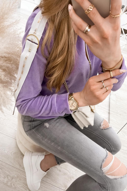 Liliowa bluza miękka rozpinana Klara 4