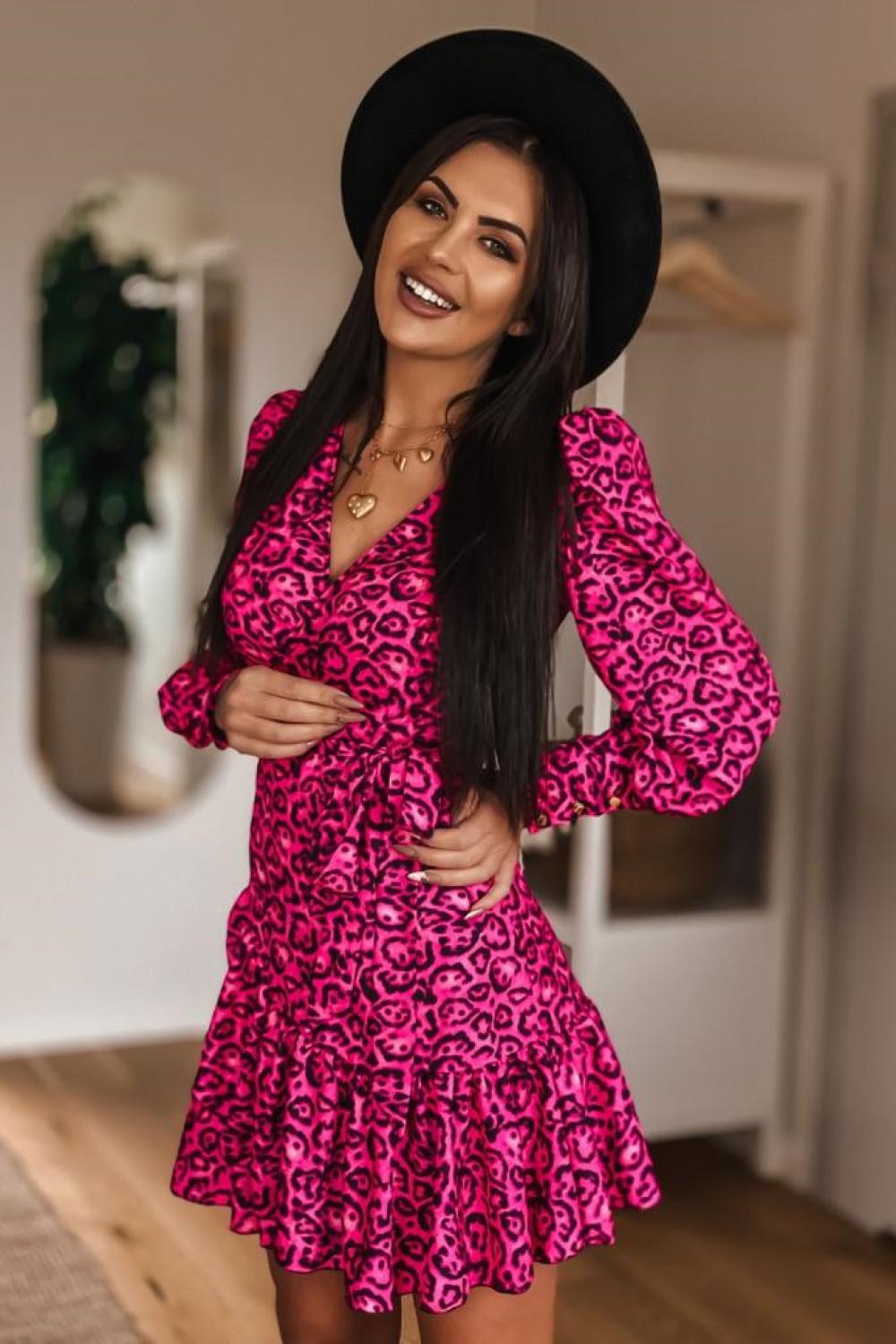 Fuksjowa sukienka rozkloszowana w panterkę Lovely 4