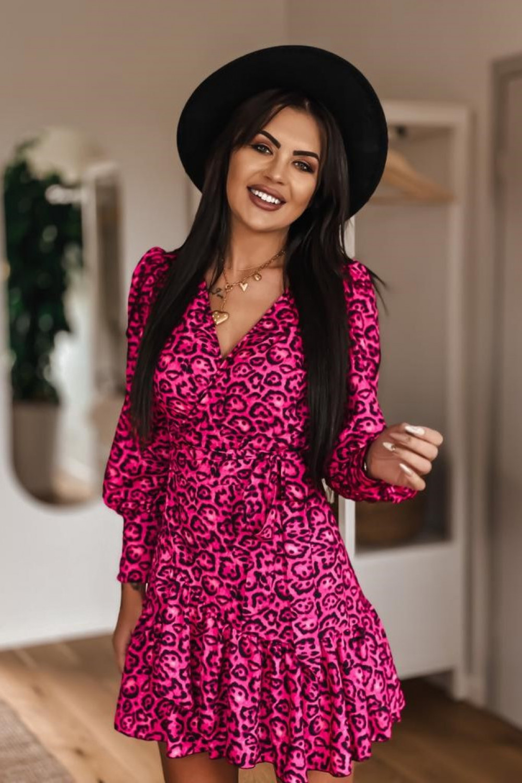 Fuksjowa sukienka rozkloszowana w panterkę Lovely 5