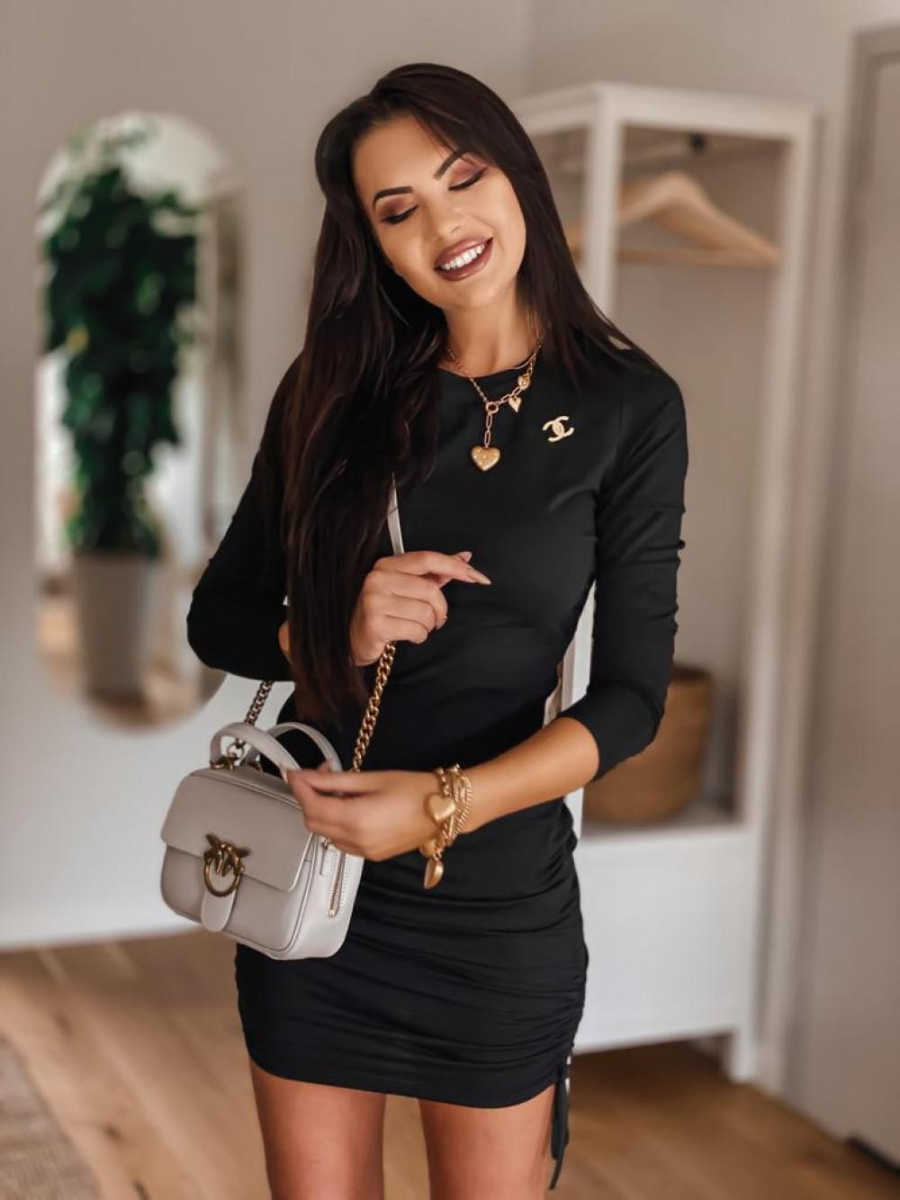 Czarna dopasowana sukienka z wiązaniem Marry 4