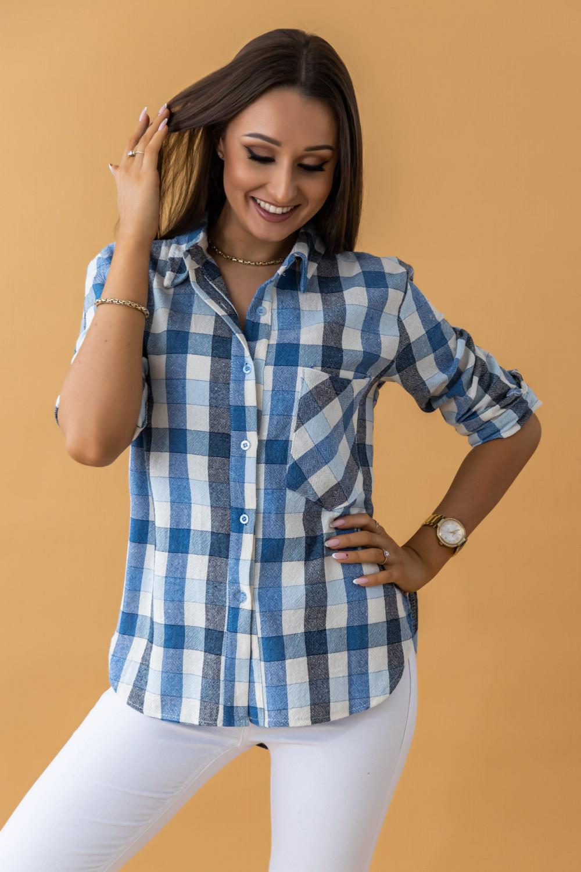 Niebieska klasyczna koszula w kratkę Lena 3