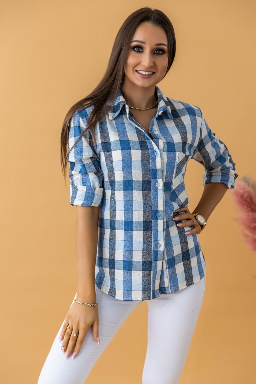 Niebieska klasyczna koszula w kratkę Lena 1