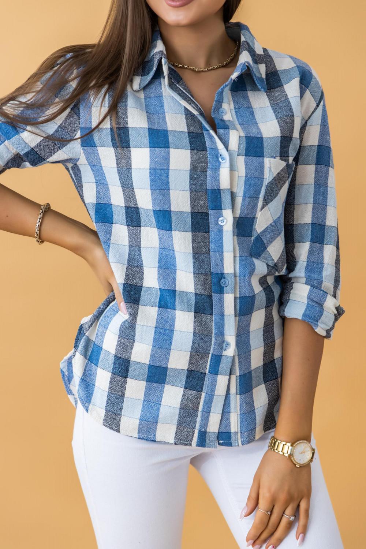Niebieska klasyczna koszula w kratkę Lena 2