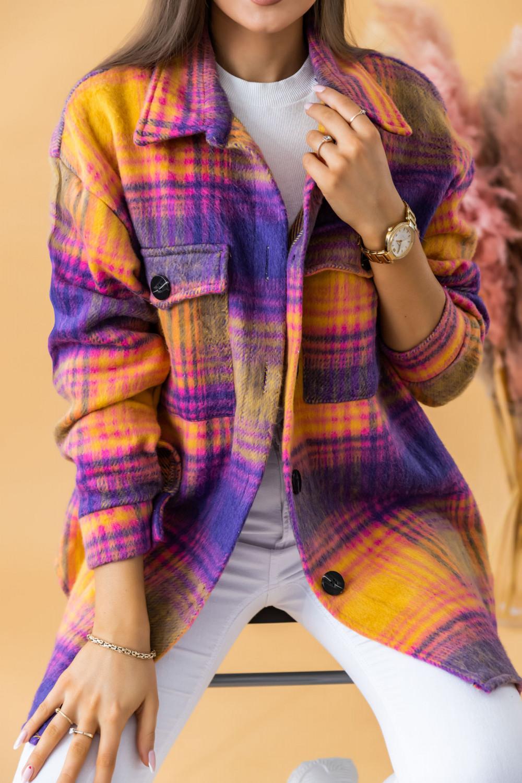 Fioletowo-różowa długa koszula w kartkę Shiny 2