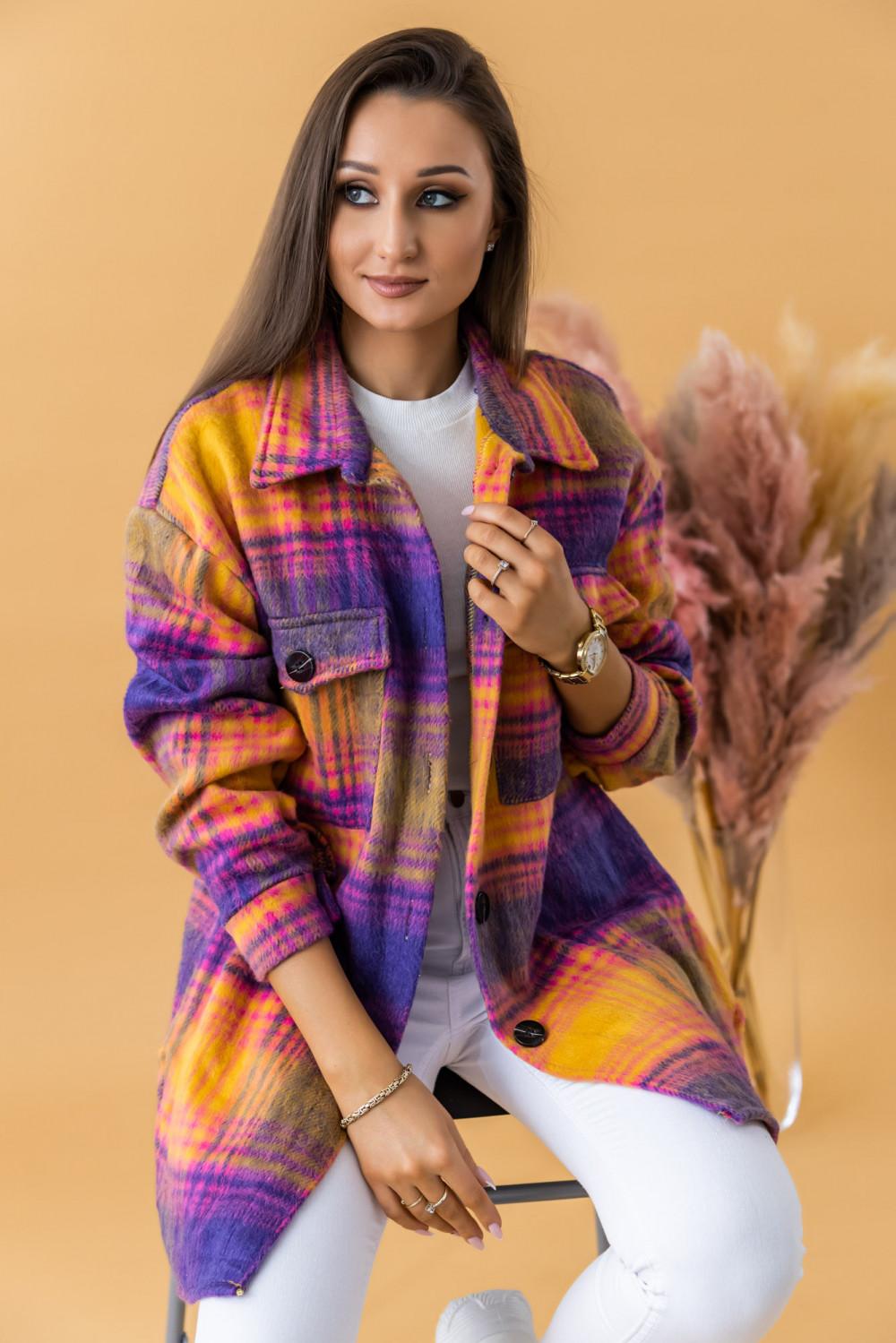 Fioletowo-różowa długa koszula w kartkę Shiny 1