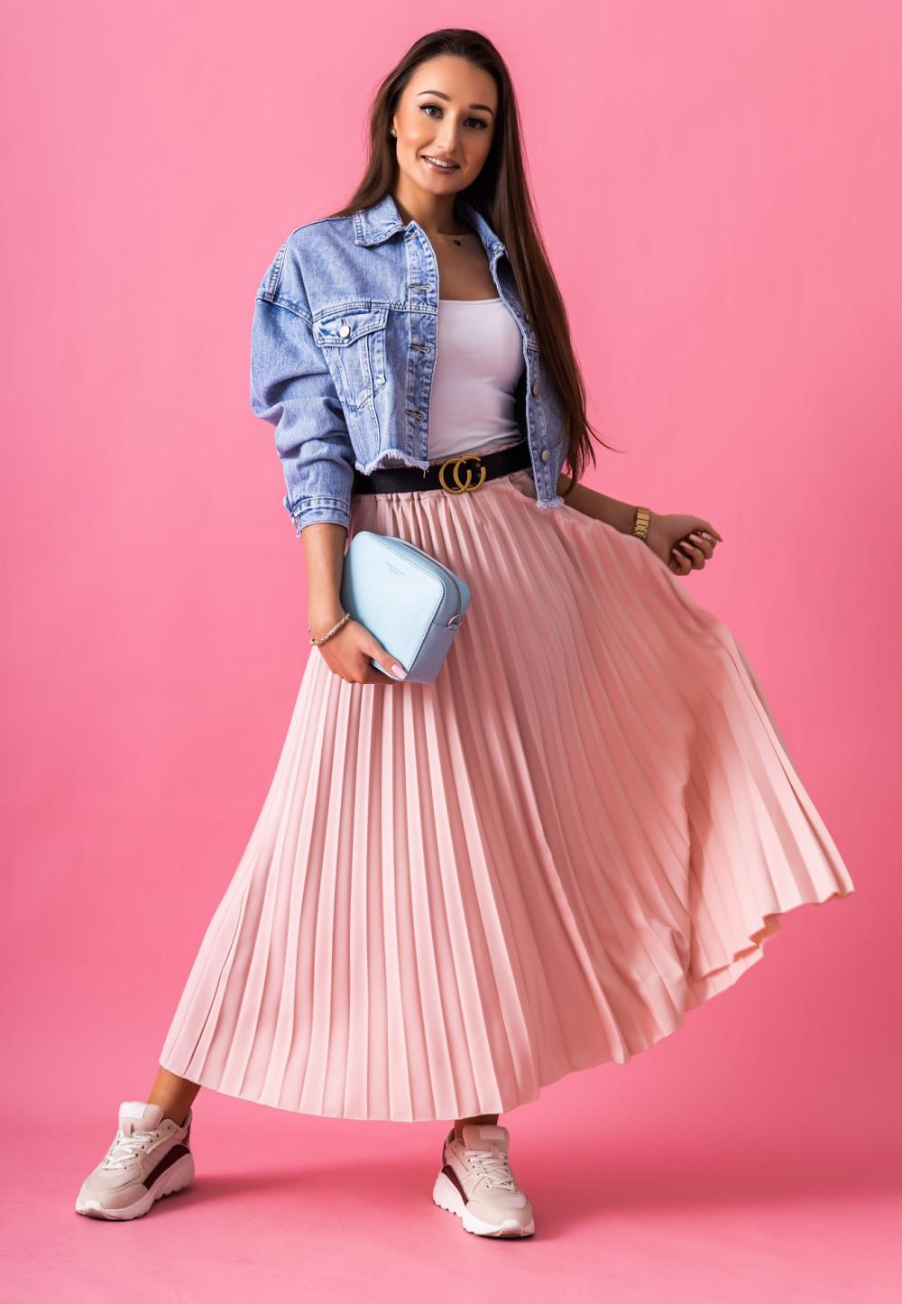 Różowa plisowana spódnica midi Kendall 1