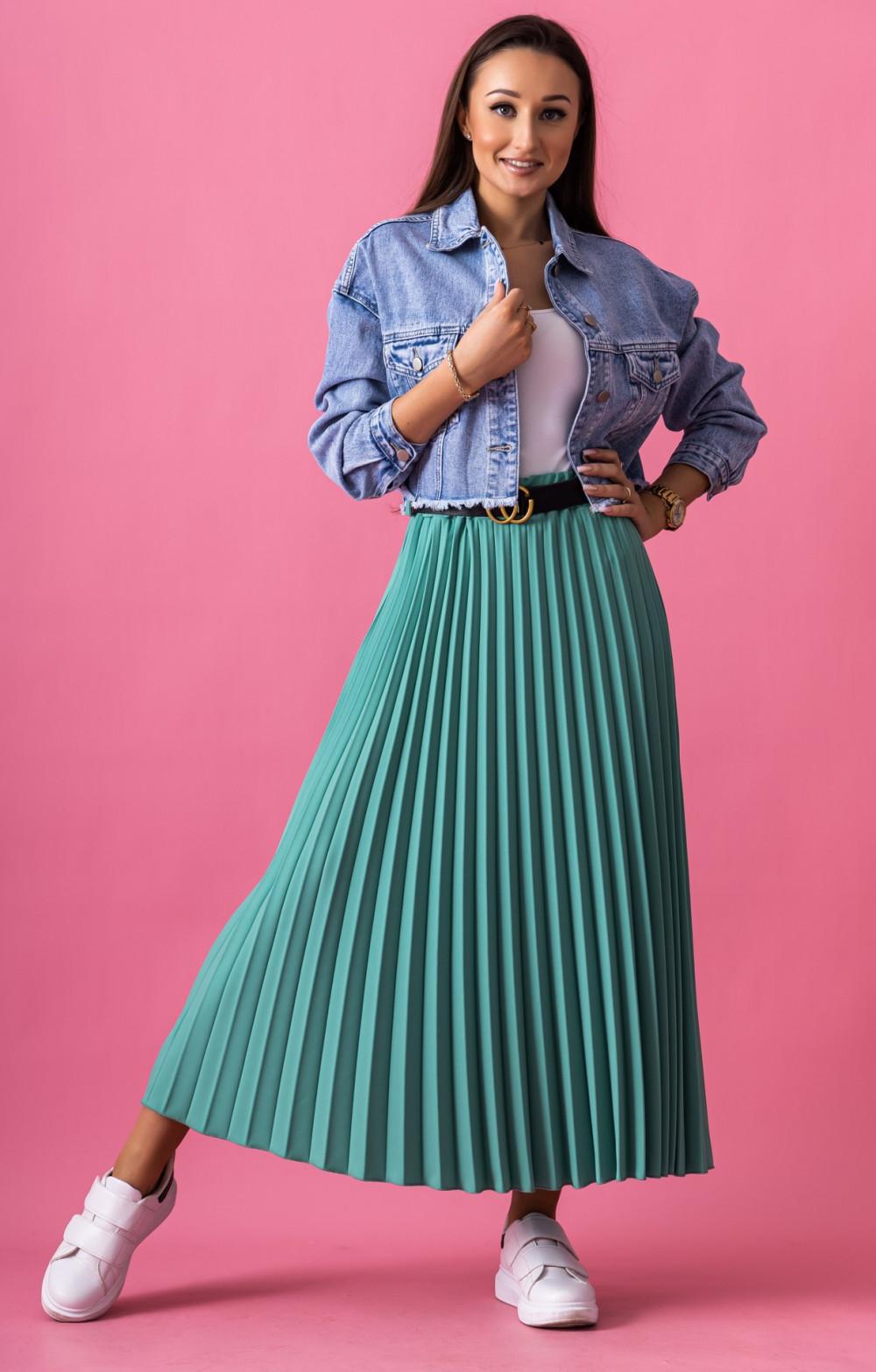 Butelkowo zielona plisowana spódnica midi Kendall 1