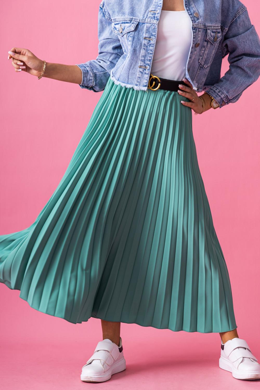 Butelkowo zielona plisowana spódnica midi Kendall 2