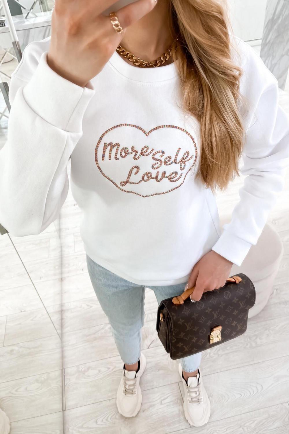 Biała bluza z haftem Self Love 5