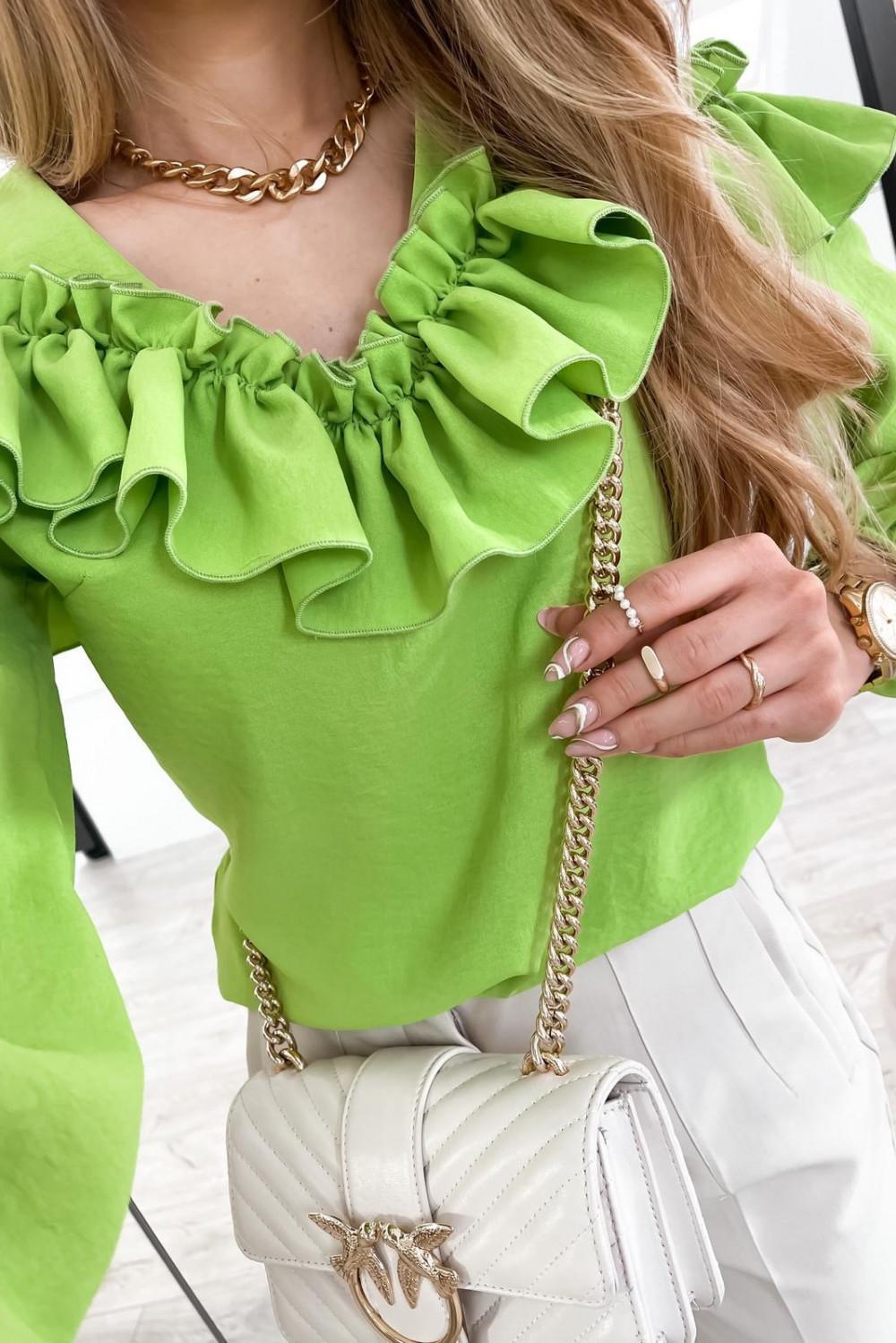 Zielona bluzka hiszpanka z falbankami Noami 5