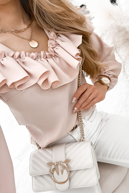 Różowa bluzka hiszpanka z falbankami Noami 4