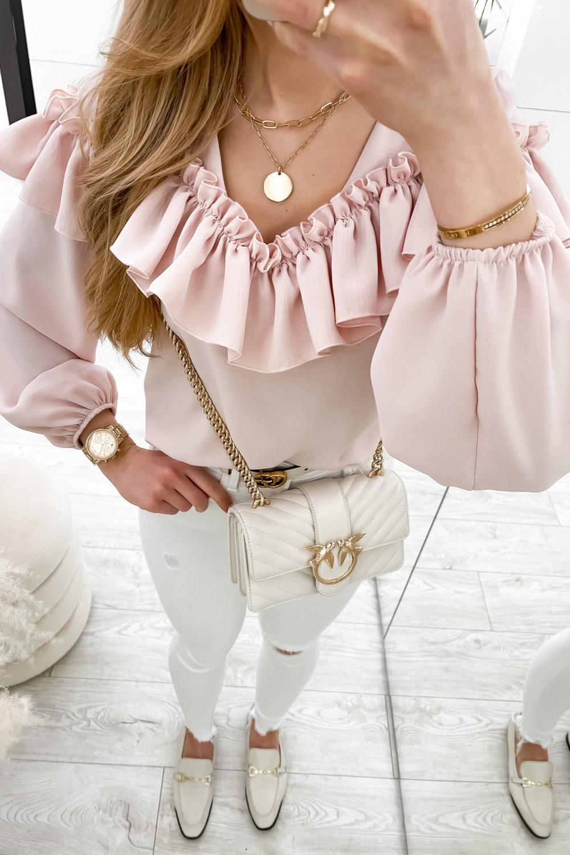 Różowa bluzka hiszpanka z falbankami Noami 3